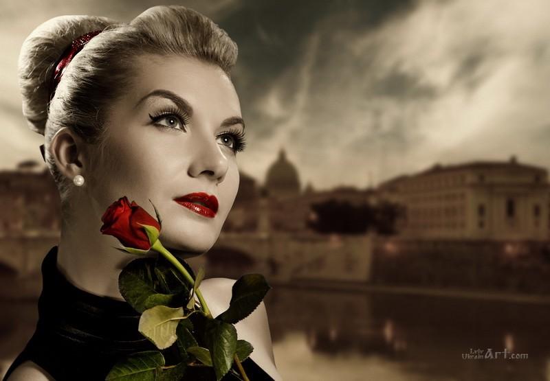 С красной розой  печать на холсте, натянут UkrainArt - фото 1