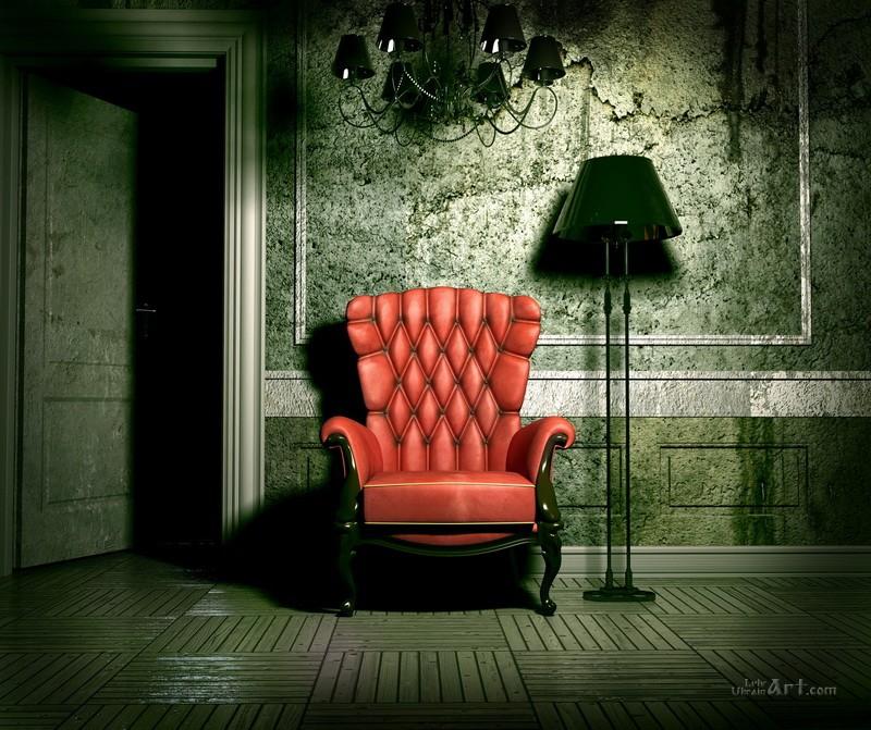 Красное кресло  печать на холсте, натянут UkrainArt - фото 1