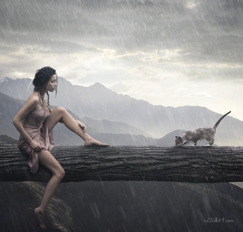 Девушка и кот  печать на холсте, натянут UkrainArt - фото 1