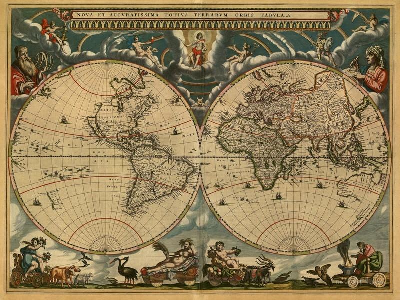 Старинная карта мира  печать на холсте, натянут UkrainArt - фото 1