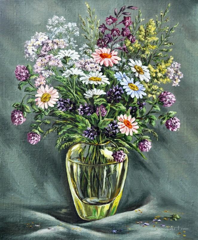 Цветы в вазе  печать на холсте, натянут UkrainArt - фото 1