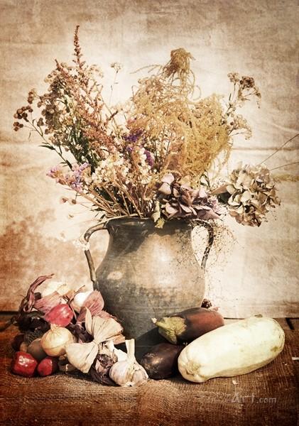Натюрморт из засушенных цветов  печать на холсте, натянут UkrainArt - фото 1