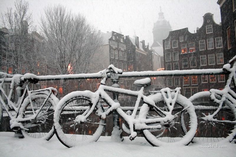 Улица засыпаная снегом  печать на холсте, натянут UkrainArt - фото 1
