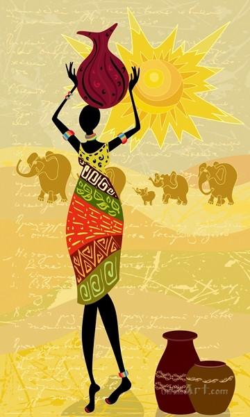 Африканский мотив  печать на холсте, натянут UkrainArt - фото 1