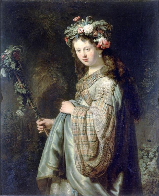 Саския в образе Флоры  печать на холсте, натянут Рембрандт Харменс ван Рейн - фото 1