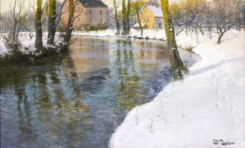 Зимний пейзаж с рекой  печать на холсте, натянут Таулов Фриц - фото 1