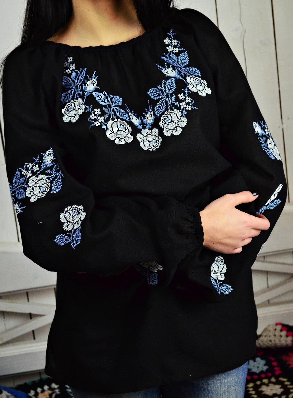 Женская вышитая блуза UA-13  Домотканое полотно. Вышив Бандерівка - фото 3