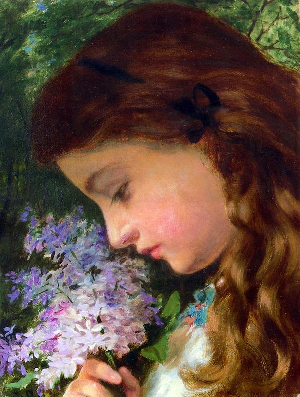 Девушка с лилиями  печать на холсте, натянут Жанжамбр Андерсон Софи - фото 1