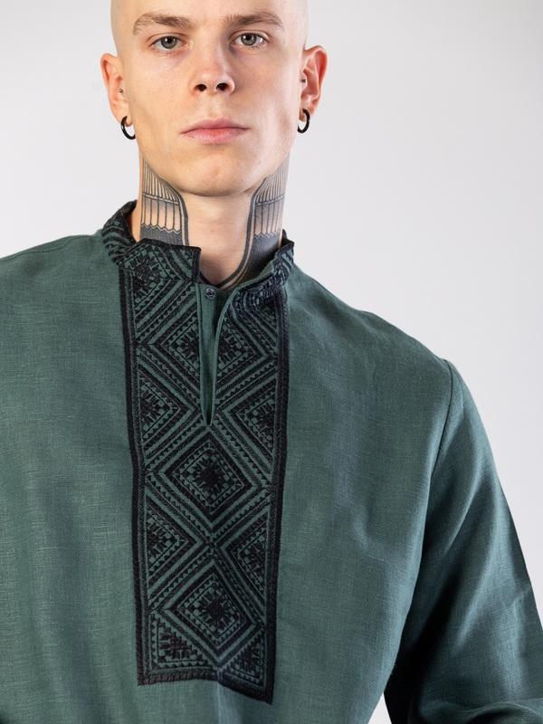 Мужская рубашка из зеленого льна с геометрической вышивкой Troyan Зеленый Ткань - лен (зеленый) Те ЕтноДім - фото 2