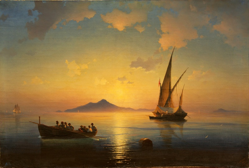 Неаполитанский залив  печать на холсте, натянут Айвазовский Иван - фото 1