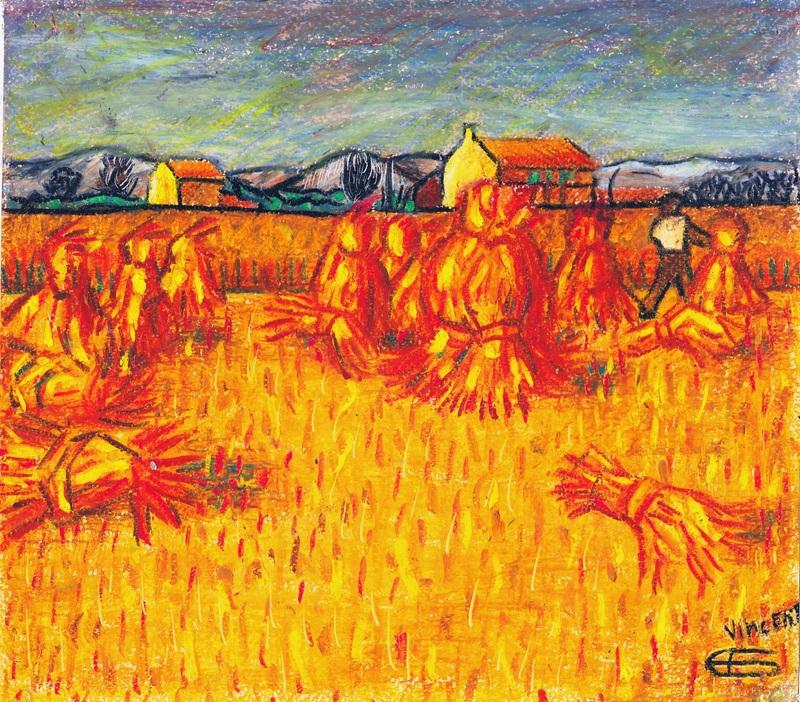 Пшеничное поле со снопами  печать на холсте, натянут Ван Гог Винсент - фото 1