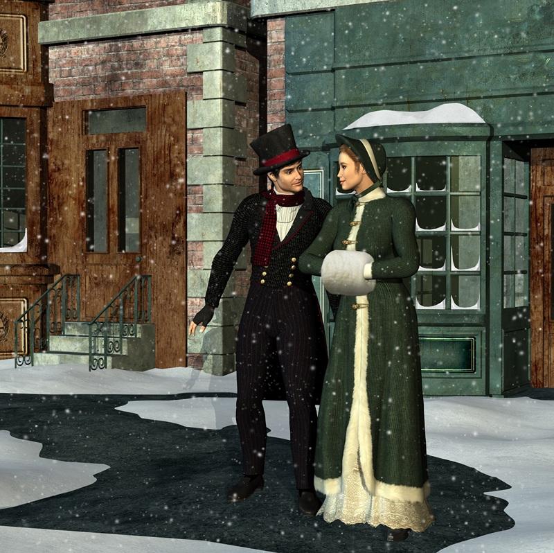 Викторианская пара в зимний период  печать на холсте, натянут UkrainArt - фото 1