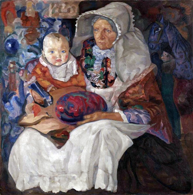 Детство  печать на холсте, натянут Григорьев Борис - фото 1