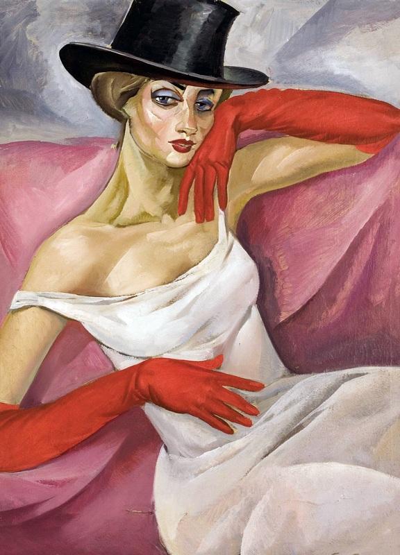 Дама в цилиндре  печать на холсте, натянут Григорьев Борис - фото 1