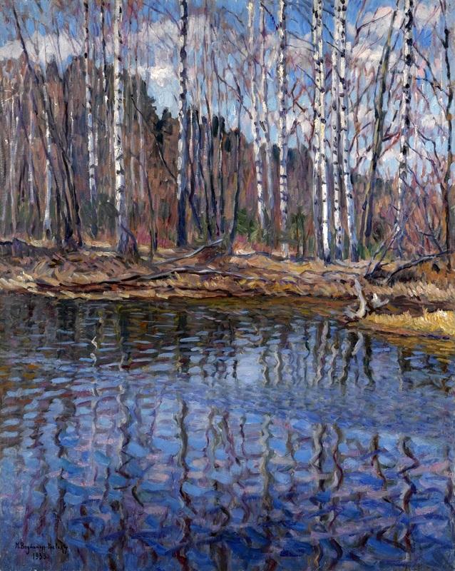 Речной пейзаж  печать на холсте, натянут Богданов-Бельский Николай - фото 1