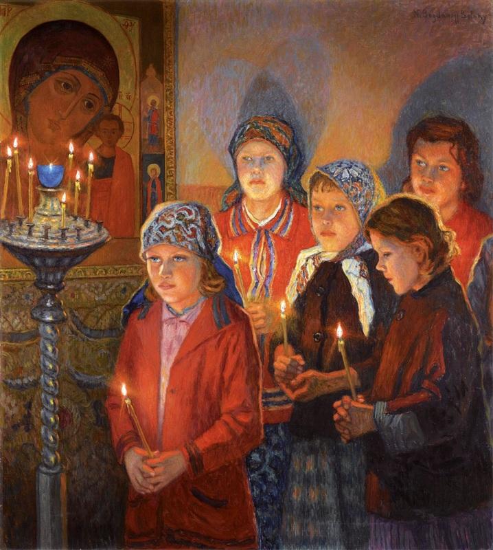 В церкви  печать на холсте, натянут Богданов-Бельский Николай - фото 1