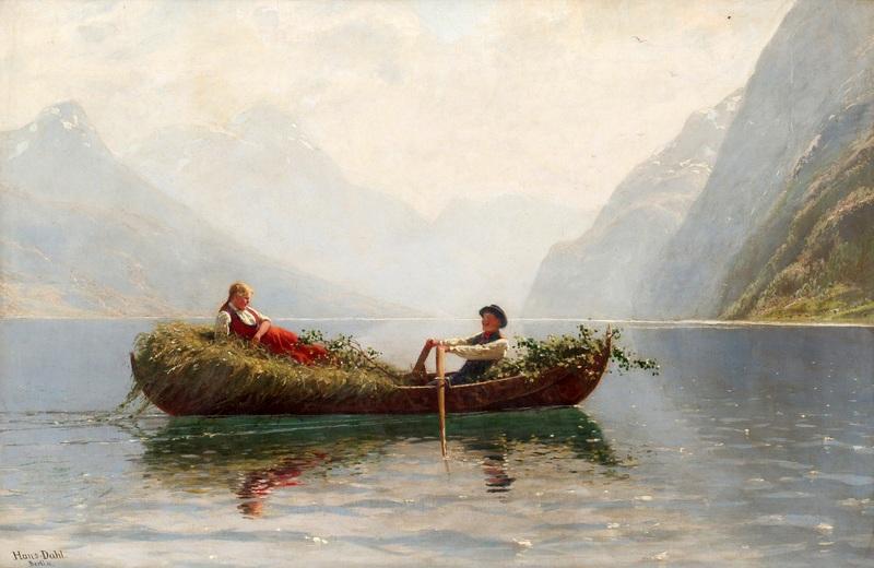 Двое в лодке везут сено  печать на холсте, натянут Даль Ханс - фото 1