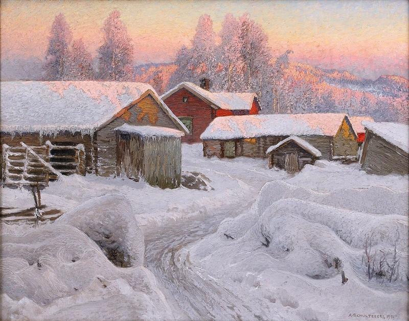 Зимний вечер в северной деревне  печать на холсте, натянут Шультцберг Ансельм - фото 1