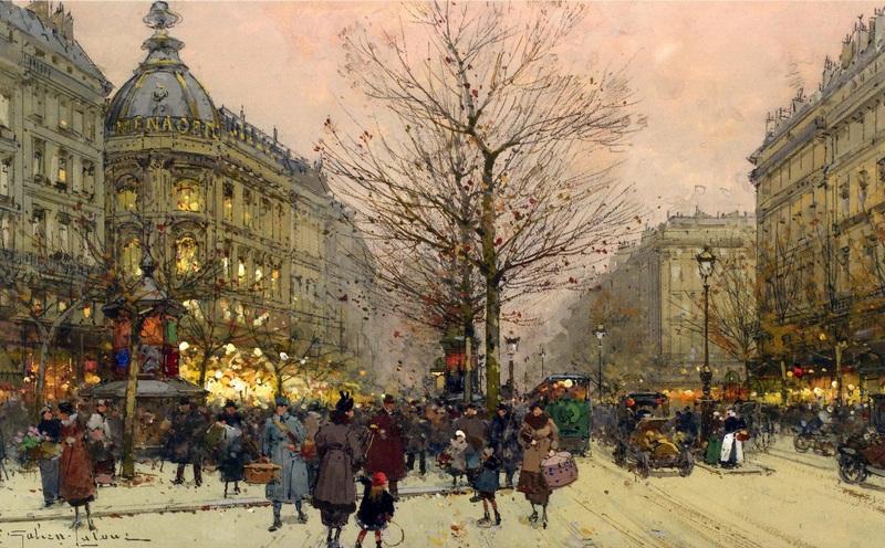 Большие бульвары, Париж  печать на холсте, натянут Гальен-Лалу Эжен - фото 1