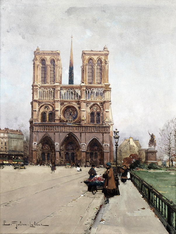 Нотр-Дам, Париж №2  печать на холсте, натянут Гальен-Лалу Эжен - фото 1