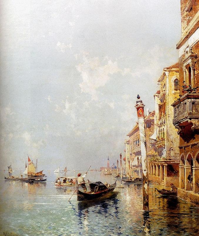 Большой канал Венеции  печать на холсте, натянут Унтербергер Франц Рихард - фото 1