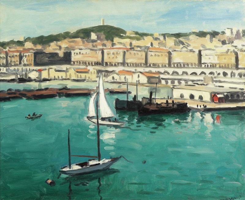 Порт и город  печать на холсте, натянут Марке Альбер - фото 1