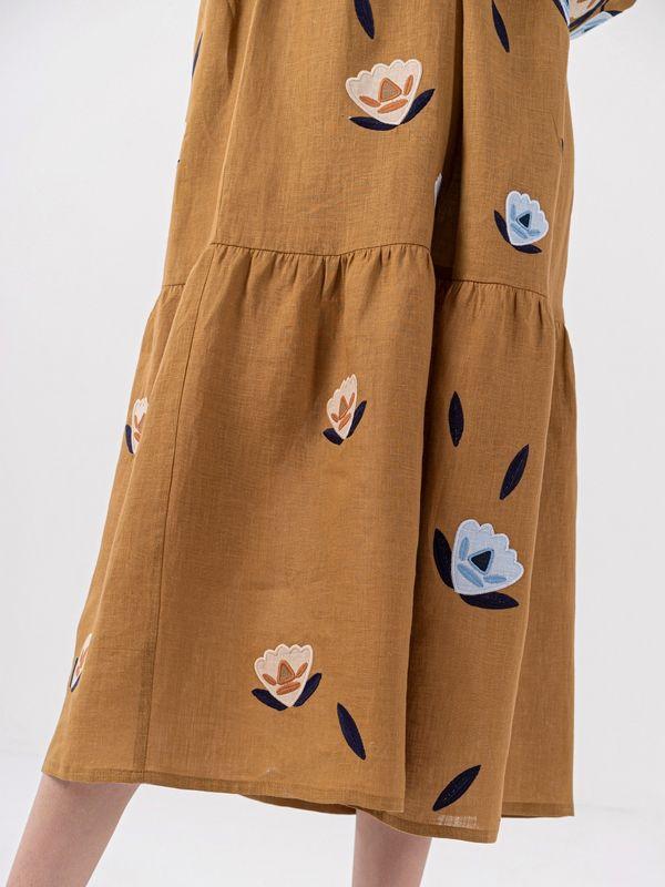 Льняное миди платье c вышивкой Kazka Brown  Ткань - лен Рост модели ЕтноДім - фото 2