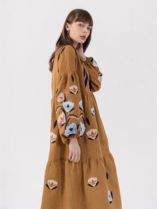 Льняное миди платье c вышивкой Kazka Brown  Ткань - лен Рост модели ЕтноДім - фото 4