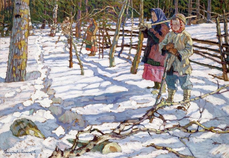 Юные охотники на медведя  печать на холсте, натянут Богданов-Бельский Николай - фото 1