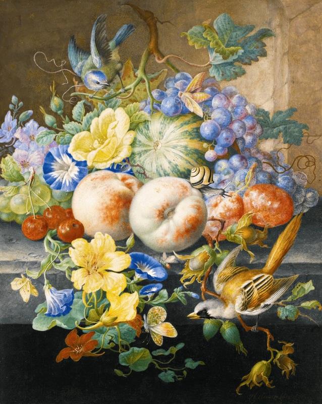 Натюрморт с цветами, фруктами, двумя птицами и улиткой  печать на холсте, натянут Хенстенбург Герман - фото 1