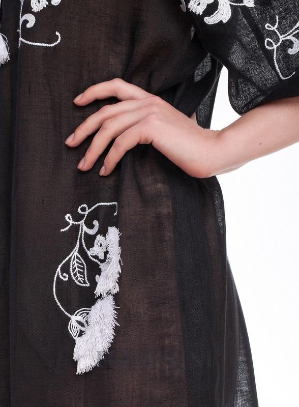Туника-вышиванка «Жасмин» Черный высококачественный лен FOBERINI - фото 4