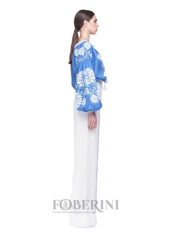 """Вышиванка """"Голубая лилия"""" Голубой Лён 100% FOBERINI - фото 5"""