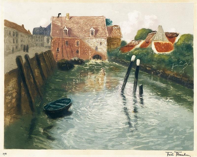 Канал с водяной мельницей  печать на холсте, натянут Таулов Фриц - фото 1