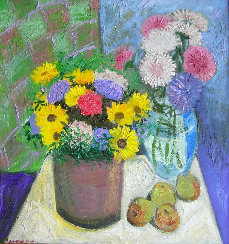 Цветы в двух вазах  холст, масло Сыпняк Петр - фото 1