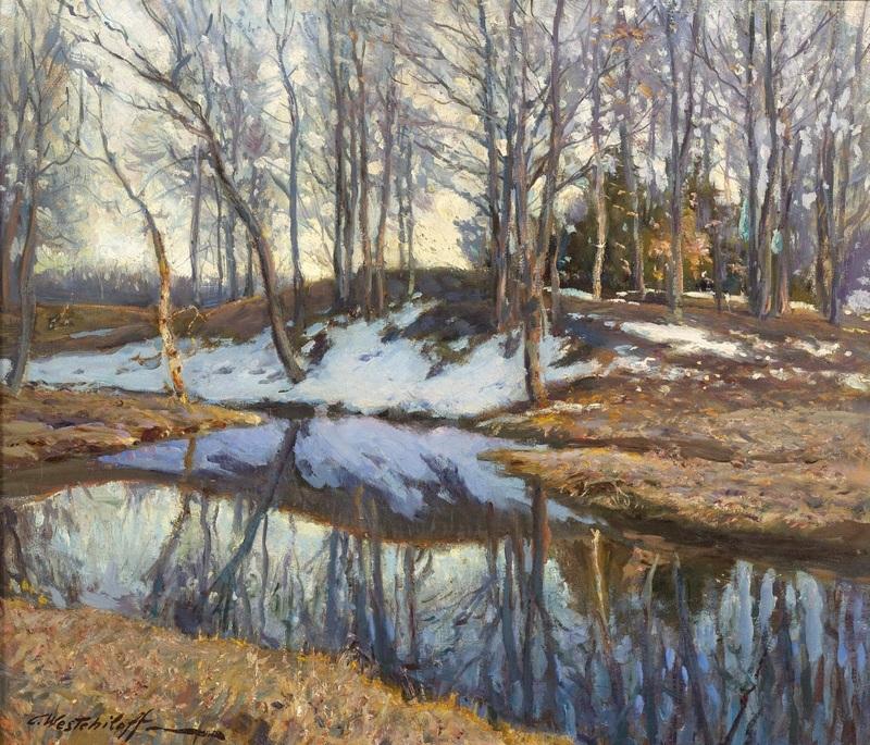 Зимний ручей  печать на холсте, натянут Вещилов Константин - фото 1