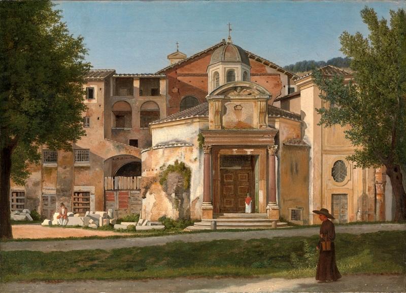 Часть Виа Сакра в Риме, церковь Святых Космы и Дамиана  печать на холсте, натянут Эккерсберг Кристоффер Вильхельм - фото 1