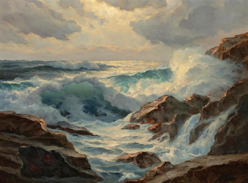 Скалистый берег моря  печать на холсте, натянут Вещилов Константин - фото 1