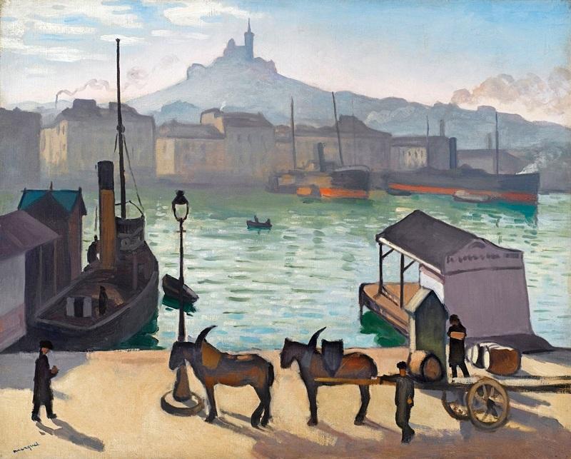 Марсель, Старый порт  печать на холсте, натянут Марке Альбер - фото 1