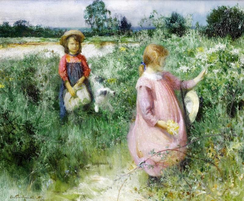 Сбор полевых цветов  печать на холсте, натянут Хэкер Артур - фото 1