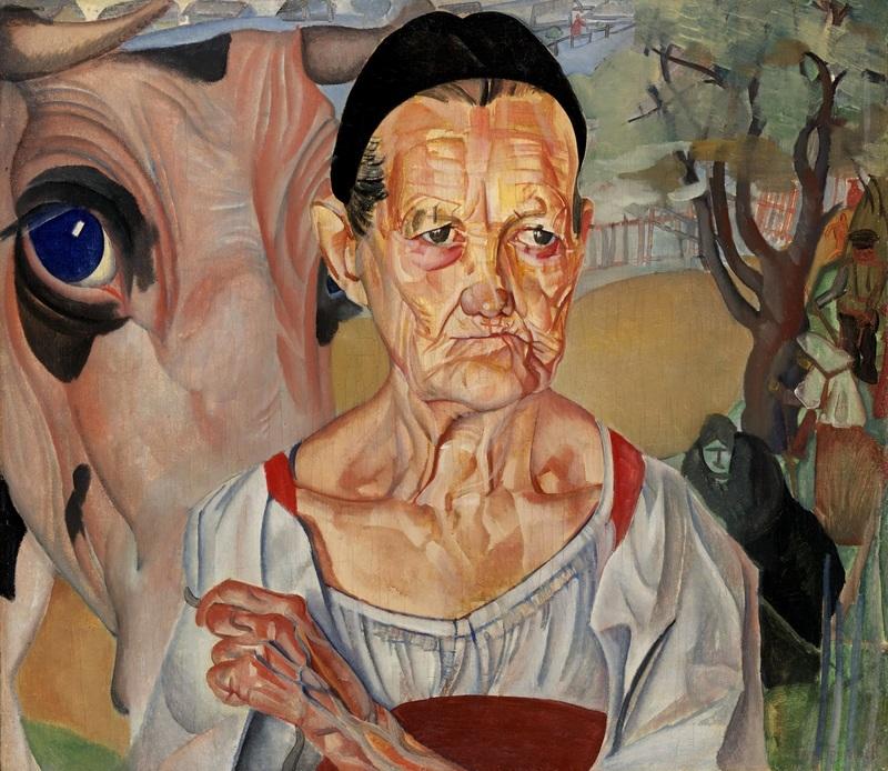 Старуха-молочница  печать на холсте, натянут Григорьев Борис - фото 1