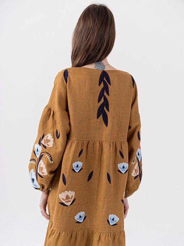 Льняное миди платье c вышивкой Kazka Brown  Ткань - лен Рост модели ЕтноДім - фото 6