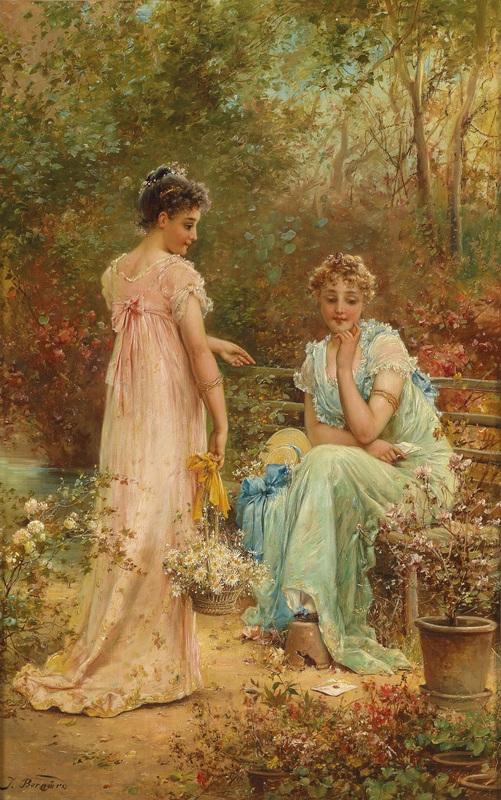 Девушки в саду  печать на холсте, натянут Зацка Ханс - фото 1
