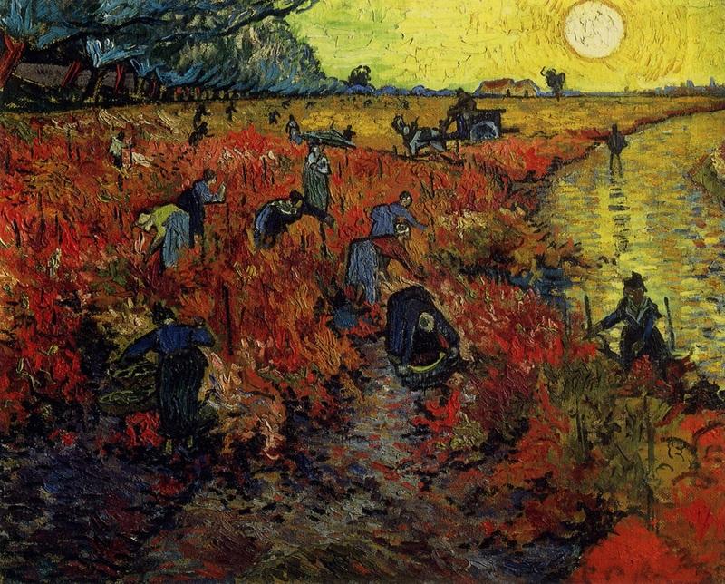Красные виноградники в Арле  печать на холсте, натянут Ван Гог Винсент - фото 1