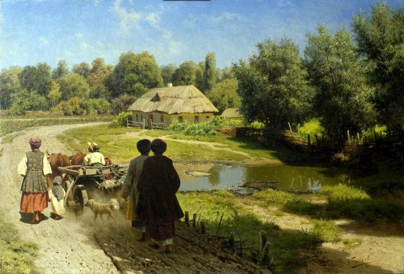 До села  друк на полотні, натягнут Сергєєв Микола - фото 1