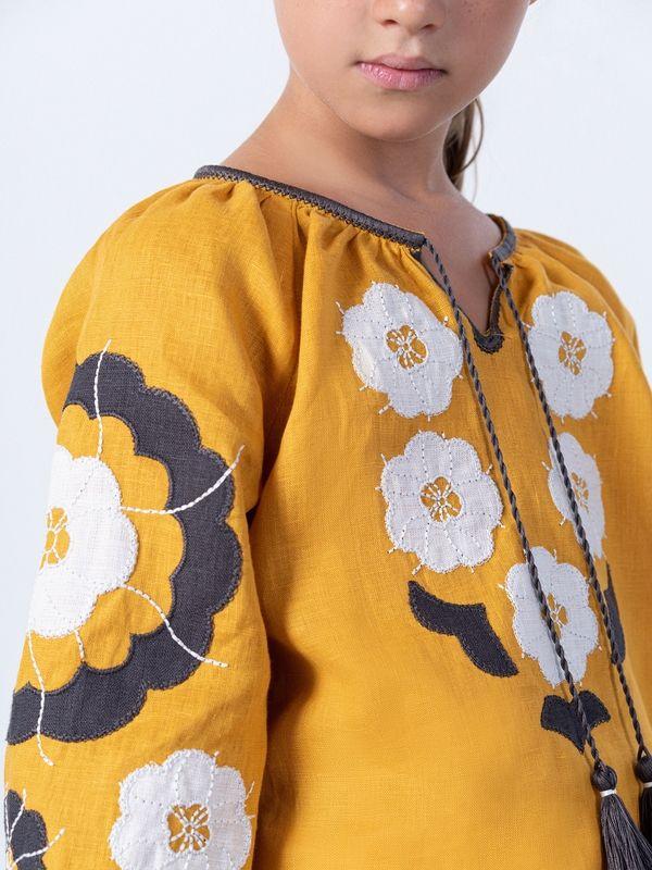 Желтая вышиванка для девочки Sunny Kids Желтый Ткань - лен Техника испо ЕтноДім - фото 4