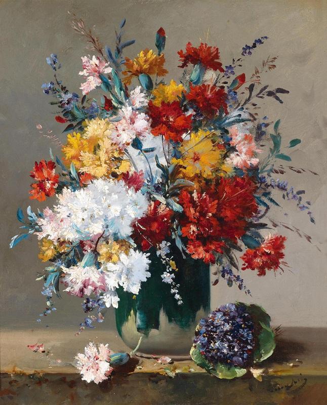 Букеты цветов и фиалок  печать на холсте, натянут Кошуа Эжен Анри - фото 1