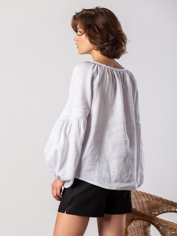 Белая блузка с белым растительным орнаментом Pure Белый Цвет - белый Ткань - лен ЕтноДім - фото 2