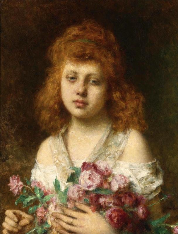 Золотисто-каштановая красавица с красными розами  печать на холсте, натянут Харламов Алексей - фото 1
