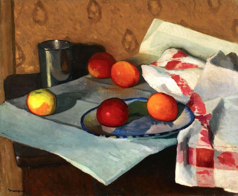 Натюрморт с салфеткой с красной полосой  печать на холсте, натянут Марке Альбер - фото 1
