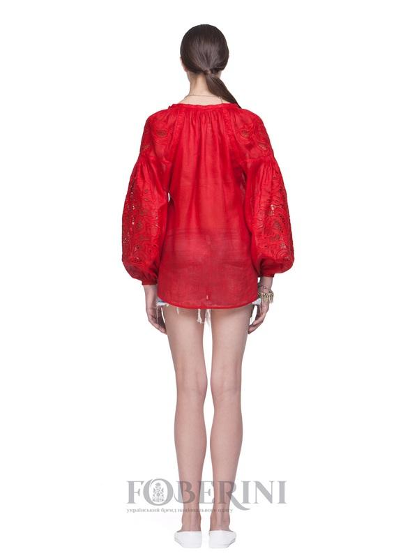 """Вышиванка """"Total Red"""" Красный Лён 100% FOBERINI - фото 6"""